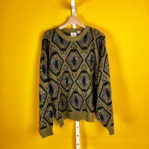 Tan Olive Green Hexagon Colorful Knit Swag Sweater